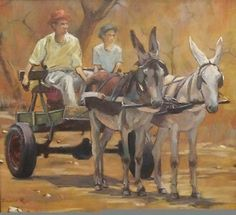 Donkey cart by South African artist David Ras African Paintings, Animal Paintings, Black Art Pictures, Art Village, South African Artists, Country Art, Angel Art, Painting Inspiration, Art Drawings