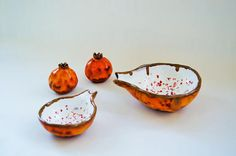Ceramic plate set Pomegranate Grenade lava orange ceramic