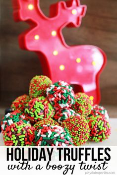Perfect chocolate truffles melt in your mouth. Make them even better with a touch of liquor and sprinkles to make these holiday truffles with a boozy twist. Holiday Candy, Christmas Candy, Holiday Treats, Christmas Treats, Christmas Recipes, Holiday Desserts, Easy Desserts, Holiday Fun, Holiday Recipes