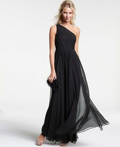 Ann Taylor black silk georgette gown, $550