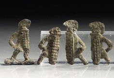 Roman lead gladiator figurines, 1st-3rd century A.D. 4.5 cm max. Private collection