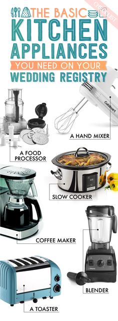 Kitchen appliances can make or break your kitchen! Make sure your wedding registry includes the best and most useful appliances that you need for your kitchen. This beautiful, visual checklist from Buzzfeed will help guide you in the right direction!