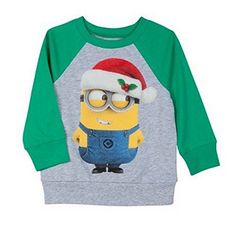 Despicable Me Toddler Minion Wearing a Santa Hat Long Sleeve Holiday Tee 4T @ niftywarehouse.com