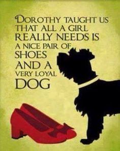 One of my favourite Wizard of Oz quotes - Dorothy taught us that all a girl really needs is a nice pair of shoes and a very loyal dog. Life Quotes Love, Great Quotes, Quotes To Live By, Funny Quotes, Inspirational Quotes, Funniest Quotes Ever, Motivational, Humour Quotes, Hilarious Sayings