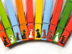 10 DOGS CLOTHESPINS hand painted magnetic pegs by SugarAndPaint, $25.00