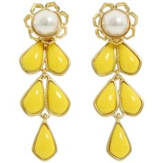 Kate Spade New York Sweet Zinnia Chandelier Earrings ($80) ❤ liked on Polyvore featuring jewelry, earrings, accessories, yellow, brincos, chandelier earrings, earrings jewelry, kate spade earrings, yellow earrings and yellow chandelier earrings