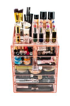 Makeup Storage Case, Makeup Storage Organization, Makeup Drawer, Jewelry Storage, Organization Ideas, Storage Ideas, Pink Makeup, Makeup Set, Contour Makeup