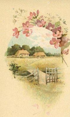 Once in a lowly home. Vintage Labels, Vintage Ephemera, Vintage Cards, Vintage Pictures, Vintage Images, Cottage Art, Arte Floral, Pictures To Paint, Vintage Postcards