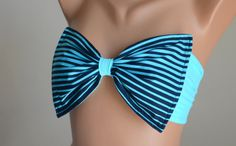 PADDED...THINER BACK.Turquoise stripe bow bandeau with removable neck strap bikini top bandeau bikini women siwmwear bandeau bikini top