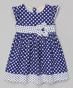 Look at this Navy Polka Dot Babydoll Dress - Toddler & Girls on #zulily today!