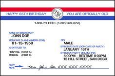Medicare card template invitation templates misc pinterest medicare birthday invitation medicare card medicare sign over the hill 65th birthday social security digital design printable fandeluxe Gallery