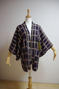 Kimono Dress Japan Vintage haori coat robe Geisha costume used silk KDJM-H0151