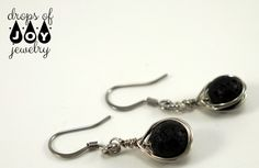 Diffuser Earrings - Wrapped Lava Stone