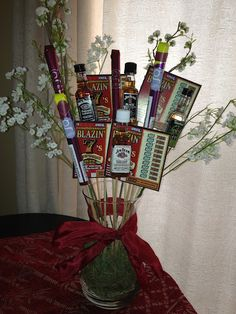 Valentines Day for your Husband or Boyfriend. The perfect gift for a man! A bouquet of cigar, lottery tickets, and alcohol!
