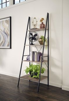 Add this Ladder Freestanding Bookcase from ClosetMaid to your home or office for stylish organization! Designed with modern, simple appeal, this ladder shelf would fit in any room of your home, like the living area or office. Wood Ladder Shelf, Ladder Bookshelf, Bookshelf Styling, Wood Shelves, Ladder Decor, Library Ladder, Etagere Bookcase, Metal Bookcase, Wood Laminate