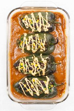 Vegan Chile Relleno - Whole Food Plant-Based Healthy Midwestern Girl Mexican Food Recipes, Whole Food Recipes, Vegan Recipes, Vegan Foods, Mexican Dinners, Vegan Menu, Vegan Sauces, Pasta Recipes, Enchiladas