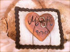 Rustic wedding ring bearer pillow wooden heart by MomoRadRose