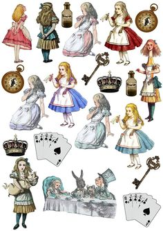 Alice in Wonderland Stand Up Edible Clipart Cake/Cupcake Rice Paper Toppers