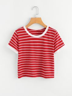 SheIn offers Contrast Striped Tee & more to fit your fashionable needs. SheIn offers Contrast Striped Tee & more to fit your fashionable needs. Teen Fashion, Fashion Clothes, Fashion Outfits, Fashion Styles, Fashion Black, Fashion Ideas, Cute Summer Outfits, Cute Outfits, Teenager Mode