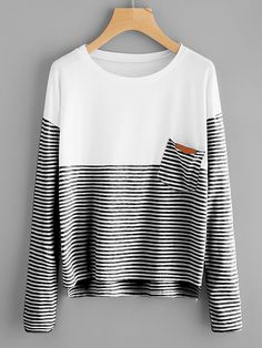 Shop Contrast Striped Dip Hem Tee online. SheIn offers Contrast Striped Dip Hem Tee & more to fit your fashionable needs.