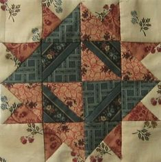 "quilt ""1865 Passion Sampler "" (sélection  Brouage 2013) - bloc 75 / 90 Clara Barton Star"
