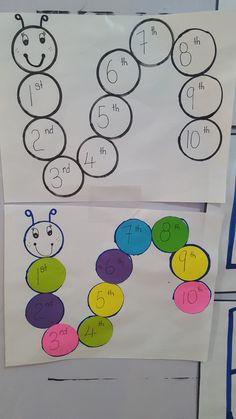 Ordinal Numbers for Kindergarten Numbers Kindergarten, Numbers Preschool, Kindergarten Lessons, Preschool Math, Nursery Activities, Montessori Activities, Preschool Activities, Spring Arts And Crafts, Preschool Arts And Crafts