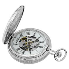 Charles-Hubert, Paris Mechanical Pocket Watch Charles-Hubert, Paris. $84.00. Deluxe gift box. Chrome finish brass 47mm double hunter case with a matching curb chain. Skeleton dial with roman numerals. 17 jewel mechanical movement