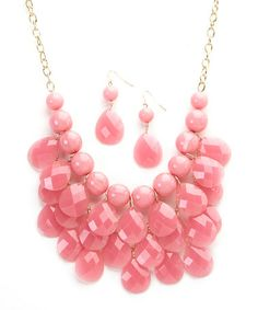 Another great find on #zulily! Pink Layered Teardrop Bib Necklace & Earring Set by Ethel & Myrtle #zulilyfinds ONLY $10.99