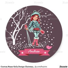 Snow Scene with a young girl skier Cute Girly Design Christmas and New Year Gift Stickers for kids / teenagers with a personalized name or blank field for name. Matching cards, postage stamps and other products available in the Christmas & New Year Category of the artofmairin store at zazzle.com
