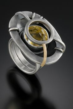Sarah C Chapman - Sanctuary Ring, oxidized sterling silver, 14k gold & citrine