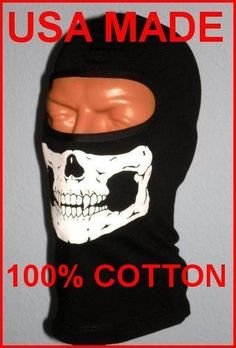 Black Skull Balaclava 1 Hole Ghost Ski Face Mask With LONG FRONT Quality USA Made 100% Cotton Black Ninja Motorcycle Biker Hood Helmet Liner Paintball Airsoft Gear Swat Mw2 Modern Warfare by My Skull Store. $13.95. WE SILK SCREEN THESE PREMIUM USA MADE 100% Cotton Full Face 1 HOLE EYELET Hoods in our Printing shop , With our design using the Highest Quality Paerl White ink . They are great for Motorcycle Riders, Winter Sports , Snowboarding, Snowmobile, Hunting, Pai...