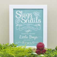 """Choose a colour, choose a style, make it your own! """"Slugs and Snails and Puppy Dog Tails"""" print by Simple Sugar Design Little Boy And Girl, Little Boys, Boy Or Girl, Baby Shower Cakes For Boys, Baby Boy Shower, Baby Shower Wishes, Great Christmas Gifts, Gifts For Kids, Party Time"""