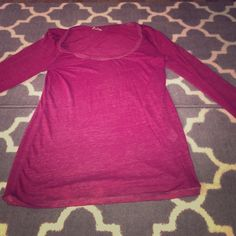 Size L long sleeve red American Eagle top Light. Comfy. Size L. American Eagle. Color is a red burgundy. No rips tears or stains. American Eagle Outfitters Tops