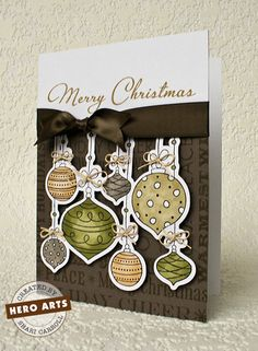 Shari Carroll: …my world –  I've been swallowed up... - 10/2/11.  (Hero Arts: Hanging Christmas Ornaments; Holiday Background stamp; Very Merry Christmas),