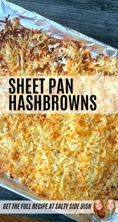 Crispy Sheet Pan Hash Browns Crispy Sheet Pan Hash Browns right in the oven! Go from frozen to perfection in under 30 minutes. Sheet pan hash browns are an easy way to make a ton of hash browns that are crispy, not oily. Shredded Hashbrown Recipes, Frozen Hashbrown Recipes, Cheesy Recipes, Pizza Recipes, Potato Recipes, Cheesy Hashbrowns, Hashbrown Breakfast Casserole, Hash Brown Casserole, Recipes