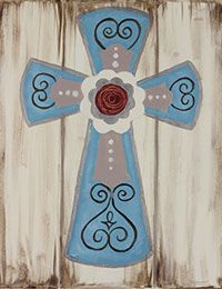 Paint a rustic cross for a canvas painting party. #socialartworking