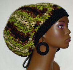 50706563e28 Avocado Mix Crochet Rasta Tam Hat Cap with Earrings and Drawstring  Dreadlocks Green Brown Black Ivory
