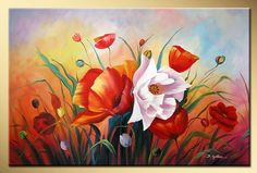 Art works hand painted Bright rose decorative landscape oil painting on canvas 16*16inch-in Painting & Calligraphy from Home & Garden on Ali...