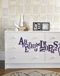 Instead of getting rid of that old dresser, a little paint, decals, and some elbow grease can make a fun, new look.
