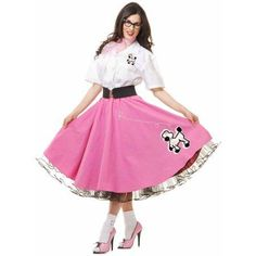 White 50S Poodle Womens Adult Sock Hop Dancer Costume Shirt