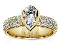 Pear Half Bezel Diamond Engagement Ring in Yellow Gold  http://www.brilliance.com/engagement-rings/half-bezel-diamond-ring-yellow-gold-3/8-ctw