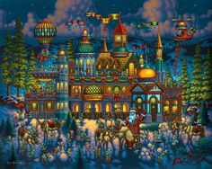 A more vibrant and colorful version of Santa's Workshop by Eric Dowdle - a view of the North Pole, Elves, and a Winter Wonderland!