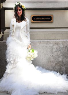 Leandra Medine (aka Man Repeller ) gets married in a Marchesa wedding dress with a detachable tulle peplum with a flower veil and ite leather vest by Lyndsey Butler and a white satin biker jacket by Rebecca Minkoff. Pretty Wedding Dresses, Celebrity Wedding Dresses, Gorgeous Wedding Dress, Celebrity Weddings, Dream Wedding, Punk Wedding, Perfect Wedding, Fall Wedding, Leandra Medine Wedding
