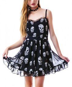 Skull Print Chiffon Dress is on sale now for - 25 % ! is on sale now for - 25 % ! Print Chiffon, Chiffon Dress, Dress Skirt, Skull Fashion, Punk Fashion, Womens Fashion, Grunge Fashion, Fashion Wear, Skull Dress