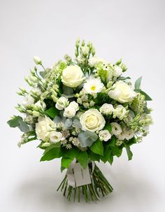 White avalanche roses and fragrant silver eucalyptus - a classic green and white bouquet. Uplifting yellow sunflowers and refreshing greens. Prom Flowers, Church Flowers, Wedding Flowers, Flowers Garden, Prom Bouquet, Wedding Bouquets, Beautiful Flowers, Fresh Flowers, Exotic Flowers