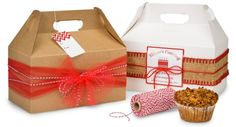 Gable Boxes Make Fun Packaging for Small Gifts & G - San Valentin Regalos Caja Christmas Cookies Gift, Christmas Food Gifts, Christmas Hamper, Homemade Christmas Gifts, Creative Gift Wrapping, Creative Gifts, Wrapping Ideas, Wrapping Presents, Hamper Boxes