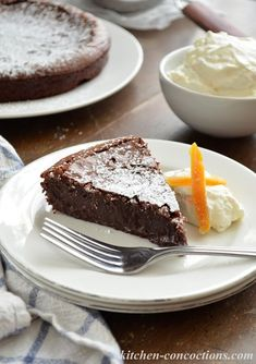 Flourless Chocolate Cake with Orange Whipped Cream and Candied Orange Peel - Kitchen Concoctions Grapefruit Cake, Candied Orange Peel, Olive Oil Cake, Flourless Chocolate Cakes, Pound Cake, Whipped Cream, Homemade, Baking, Tuesday