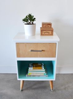 vintage night stand gets a modern mid century makeover using wood veneer, mid century style legs from home depot and benjamin moore paint in high gloss