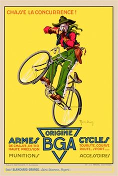 BGA Armes 1930 Belgium - Beautiful Vintage Poster Reproduction. This vertical French transportation poster features a cowboy popping a wheelie on a bicycle while pointing a rifle at us. Giclee Advertising Print. Classic Posters