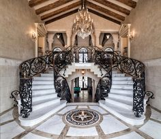Palladian Oceanfront Estate – $9,950,000 luxury foyer dual staircase